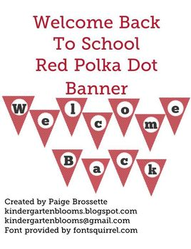 Welcome Back to School Red Poika Dot Banner