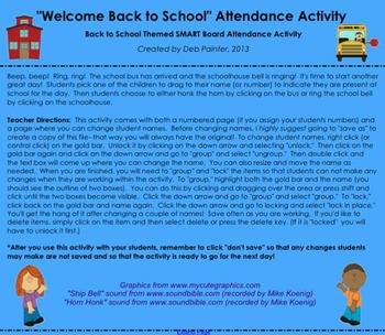 """Welcome Back to School"" Schoolhouse Bus Themed SMART Board Attendance w/ SOUND"