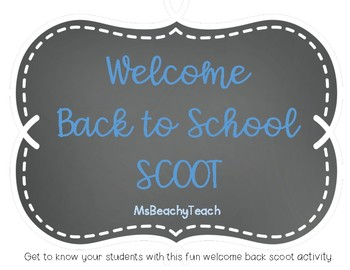 Welcome Back to School Scoot