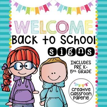Welcome Back to School Signs {Grades Preschool-5th}