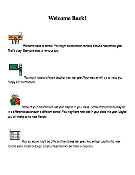 Welcome Back to School Social Story, Boardmaker; autism/sp