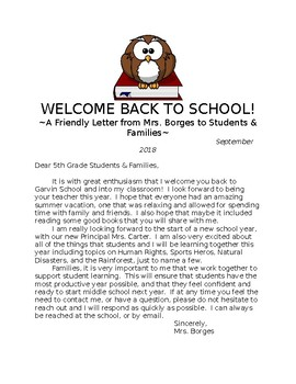 Welcome Back to School Students & Families