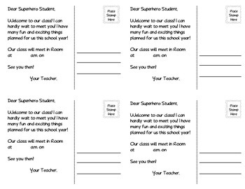 Welcome Back to School Superhero Postcards