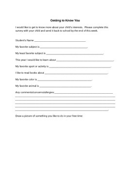 Welcome Back to School Survey