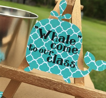 Welcome Back to School Tags, Labels.  Whale themed treat tags.