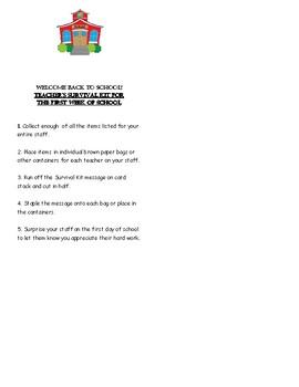 Welcome Back to School Teacher's Survival Kit