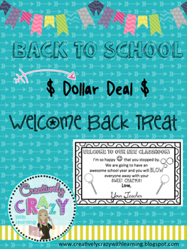 Welcome Back to School Treat Idea Dollar Deal 2016