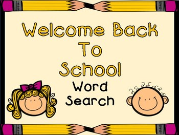 Welcome Back To School Word Search By Hoping 2 Help Tpt