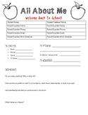 Welcome Back to School Worksheet