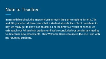 Welcome Back to School first day lesson