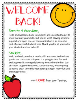 Back to School Letter for Parents AND Students: 3 Designs in Color