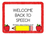 Welcome Back to Speech Book *Freebie*