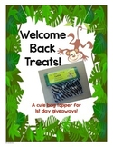"""Welcome Back"" treats tag - Safari/Jungle theme"