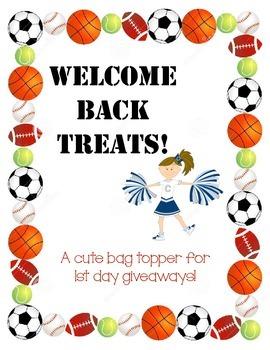 """Welcome Back"" treats tag - Sports theme"