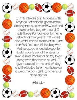 """Welcome Back"" treats tag - Sports theme"