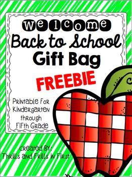 Welcome Bag Freebie (K-5)