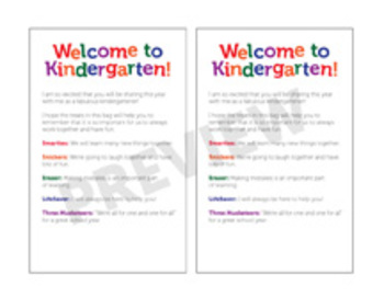 Welcome To Kindergarten! Treat Bags