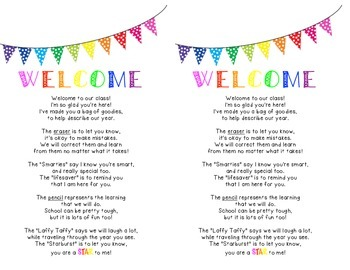 Welcome Bags Activities Back to School First Day