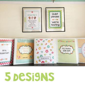 Bloomin' Cute Editable Binder Covers