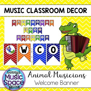 Welcome Banner Animal Musicians Theme