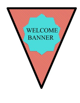Welcome Banner Aqua and Red