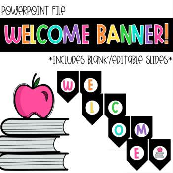 Welcome Banner Black Version For Classroom Or Distance Learning