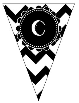 Welcome Banner - Black and White Chevron