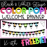 """Welcome Banner """"Black and White Stripe Color PO!""""  FREEBIE!"""