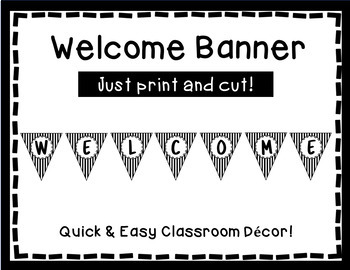 Welcome Banner - Black and White Triangle Banner