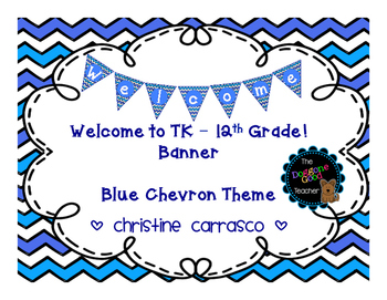 Welcome Banner Blue Chevron