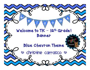 Welcome Banner Blue Chevron