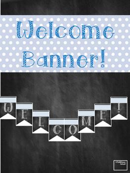 Welcome Banner Blue Polk-a-Dot