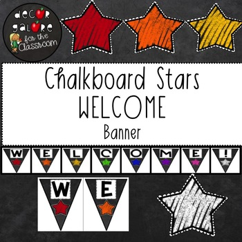 Welcome Banner - Chalkboard Stars Decor