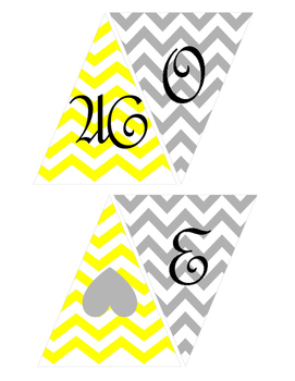 Welcome Banner- Chevron Yellow and Gray