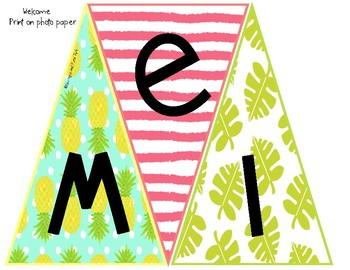 Welcome Banner Flamingo and Pineapple Theme