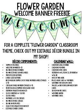 Flower Garden Welcome Banner FREEBIE