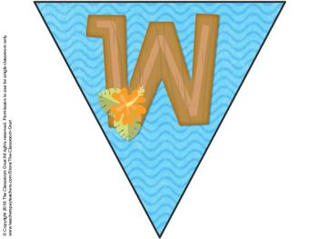 Classroom Welcome Banner Hawaiian Island Theme
