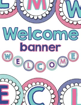 Welcome Banner - Navy blue, Teal, Pink