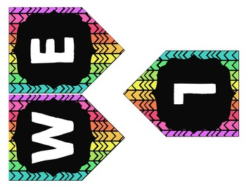 Welcome Banner {Neon and Black Chevron}
