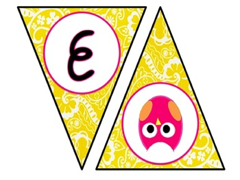 Welcome Banner - Owl Theme - Yellow and Pink
