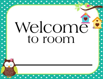 Welcome Banner (Owl theme)  Classroom decoration