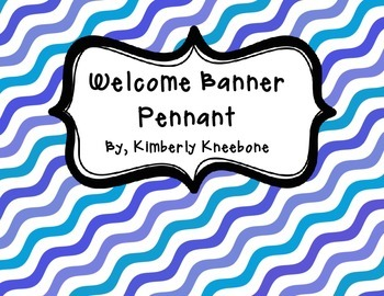 Welcome Banner Pennant - Blue Waves