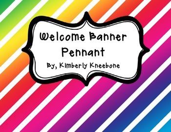 Welcome Banner Pennant - Colorful Diagonal Stripes