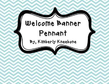 Welcome Banner Pennant - Light Blue Chevron