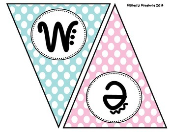 Welcome Banner Pennant - Light Blue, Light Pink, and Green Polka Dots