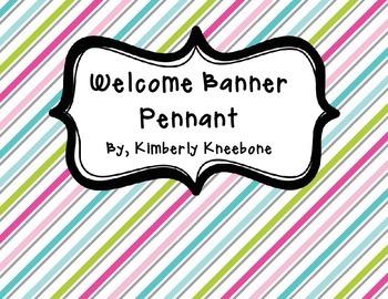Welcome Banner Pennant - Pretty Diagonal Stripes