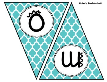 Welcome Banner Pennant - Turquoise Quatrefoil