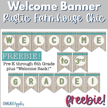 FREE Welcome Banner Pennants - Rustic Farmhouse Chic