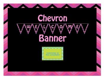 Welcome Banner- Pink & Black Chevron
