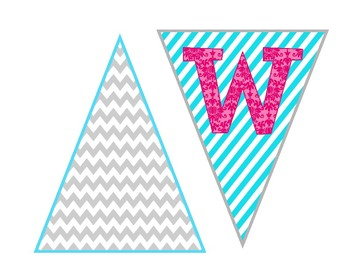 Welcome Banner Pink Blue Gray